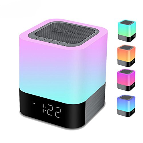 Price comparison product image Night Light Bluetooth Speakers,  Homeself Touch Sensor Bedside Lamp / MP3 Music Player Alarm Clock,  Wireless Speaker with Lights,  48 RGB Multi-Color Changing LED lamp,  Gifts for Women Men Kids (White)