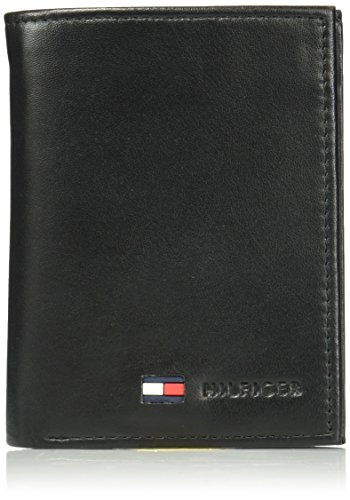(Tommy Hilfiger Men's Trifold Wallet-Sleek and Slim Includes ID Window and Credit Card Holder, Black, One Size)
