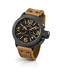 TW Steel Men's 'Canteen' Quartz Stainless Steel and Leather Dress Watch, Color:Brown (Model: CS43)
