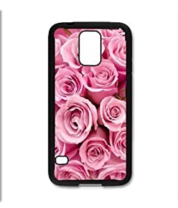 Samsung Galaxy S5 SV Black Rubber Silicone Case - Beautiful Pink Roses Bundle Flowers