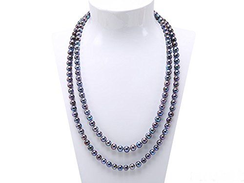 JYX 8mm Black Round Freshwater Pearl Necklace Sweater Necklace 48'
