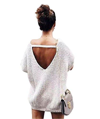 YOUJIA Mujeres Elegante Suéteres - Cuello redondo - Manga corta Jersey Suéter Tops Gris
