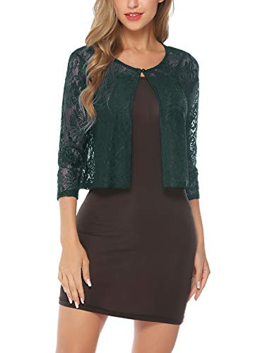 Abollria Women's Lace Shrug Sheer Cropped Bolero Cardigan Jacket Green