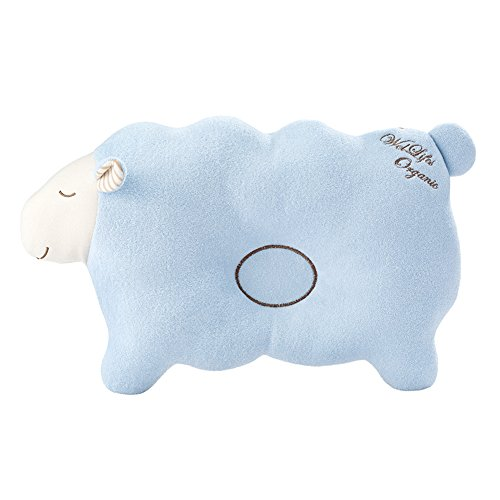 Lamb Organic Cotton - Baby Pillow For Newborn Organic Cotton to Prevent Flat Head lamb Blue
