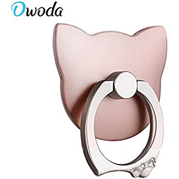 Owoda Cute Pet Phone Ring Stand 360 Degree Rotating Dog Cat Ring Grip Anti Drop Finger Holder for iPhone iPad and All Cellphone (Cat-Rose Gold)