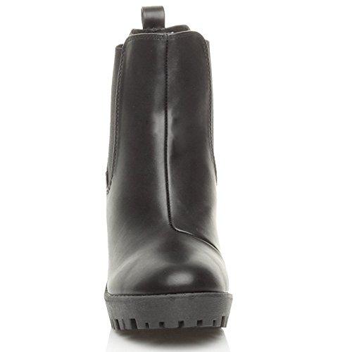 size high booties ladies boots ankle platform shoes Ajvani riding cleated Matt chelsea Womens heel Black block qS1EOP