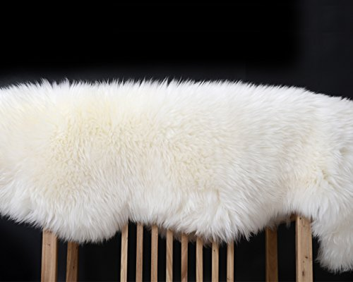Yilong Carpet Australian Sheepskin Rug Yoga Mat One Pelt Ivory Natural Fur, Single, Approx. 2.1ft. x 3.3ft. (Ivory)