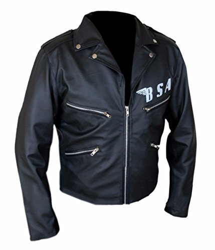 Leatherly Veste Homme BSA George Michael Faith Rockers Revenge Style motard Moto Authentique Veste de Cuir Noir
