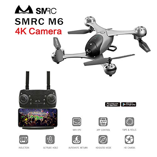 Aoile SMRC M6 Follow Me Quadrocopter Pocket Drones with Camera HD 4K/1080P RC Plane Quadcopter Race Helicopter FPV Racing Dron Toys Silver 4K