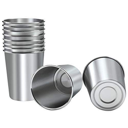 Resinta 10 Pieces 8 Ounce Stainless Steel Cups Metal Pint Cups Shatterproof Drinking Glasses for Kids or Adults (8 - Picnic Cup