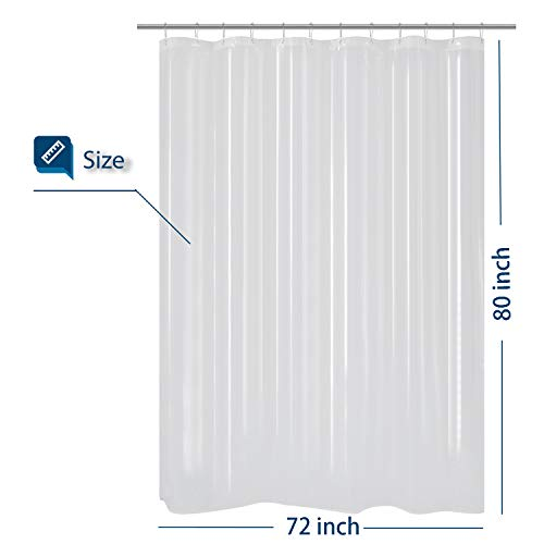 Barossa Design Extra Long Shower Curtain or Liner 72 x 80 inches, PEVA, Waterproof, PVC Free, Metal Grommets, Clear (80 Curtain Shower)