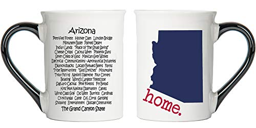 Tumbleweed - Arizona - Arizona Mug With State Description On The Back - Arizona Home - Large White 18 Ounce Ceramic Coffee Mug - Arizona Gifts -