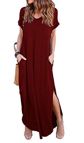 GRECERELLE Womens Casual V Neck Side Split Beach Long Maxi Dress Wine Red - Maxi Long Stretchy Dress