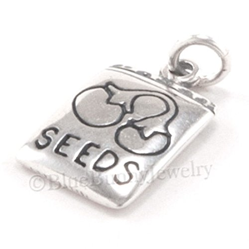 TOMATO SEED GARDEN Charm PACKET solid 925 Sterling Silver Pendant .925 3D Jewelry Making Supply Pendant Bracelet DIY Crafting by Wholesale Charms