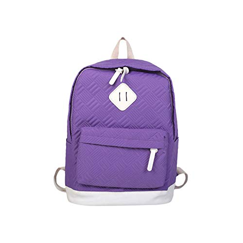 Solid Color Backpack Casual Simple Fashion Girls Pocket Minimalist Wild Students Bags Adult Teenage School Bag,Purple,