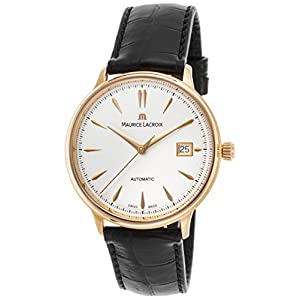 Maurice Lacroix Lc6037-Pg101-130 Men's Les Classiques Auto Black Croco Silver-Tone Dial 18K Rose Gold Watch