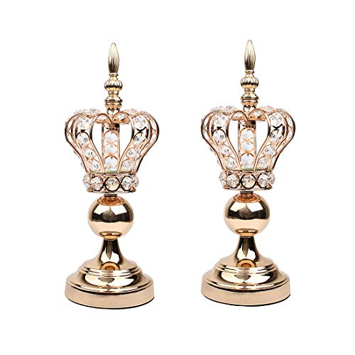 Hophen Golden Crown Metal Crystal Beads Candle Tea Light Holder Elegant Wedding Dining Coffee Table Decorative Centerpiece Anniversary Celebration Mother`s Day House Decor Pack of 2