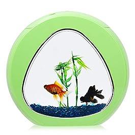 Tangkula 1 Gallon Aquarium Betta Fish Tank, Fish Aquarium with LED Light & Power Filter, Fish Bowl Comes with Artificial Aquatic Plants & Blue Jean Aquarium Gravel