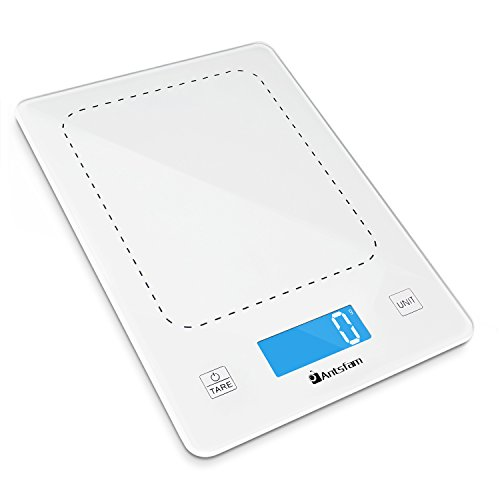 Digital Kitchen Grams Scale Touch Food Weight Scale for Diet Cooking Baking with Tempered Glass Backlit-22lb 10kg Batteries Included(Gloss White)