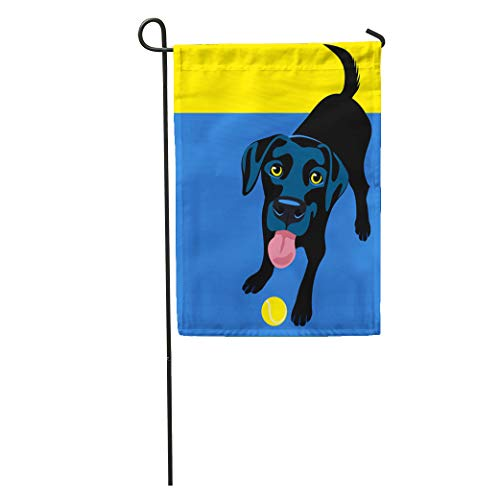 Semtomn Garden Flag Colorful Dog of Happy Playful Black Labrador Retriever Cartoon Pet Home Yard House Decor Barnner Outdoor Stand 12x18 Inches Flag