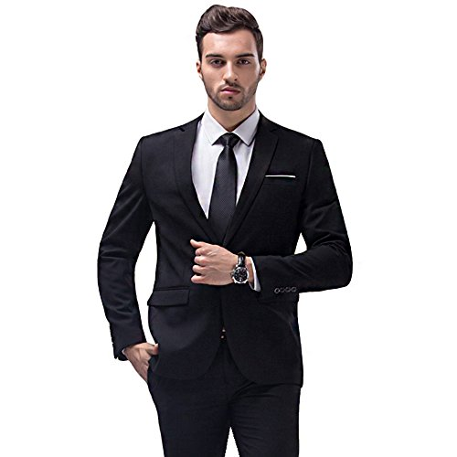 Suit One Men Button (YIMANIE Men's Suit Slim Fit 2 Piece One Button Blazer Single Breasted Tuxedo Business Wedding Party Jacket&Trousers)
