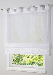 LivebyCare Ruffles Liftable Roman Shades Tap Top Sheer Balcony Window Curtain Voile Valance Drape Drapery Panels for Dinning Room Decor Decorative