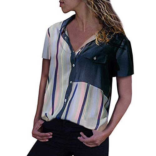 - TOTOD Blouse for Women Fashion Color Block Tops Striped Cuffed Short Sleeve V-Neck Button-Up Shirts (White,S)