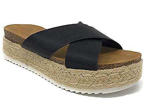 - SurBepo Women's Platform Espadrilles Criss Cross Slide-on Open Toe Faux Leather Studded Summer Sandals (7.5 B(M) US-EU Size 38, 1-Black)