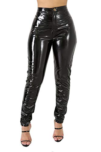 Pants Vinyl (Doris Apparel PU Leather Pants for Women Sexy Tight Stretchy Lined Latex Leggings Black)