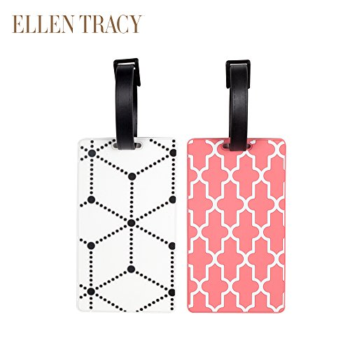 Ellen Tracy 2 Pack Rubber Travel Luggage Tags Coral Print White