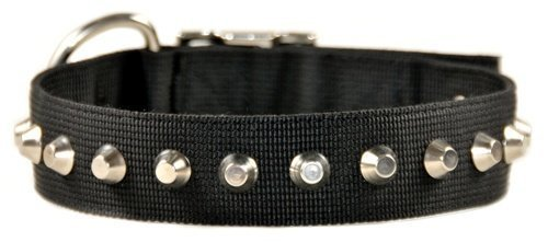 Dean and Tyler MAKE A STATEMENT , Nylon Dog Collar with Nickel Plated Studs Black Size 24-Inch by 1-1 2-Inch, Fits Neck 22-Inch to 26-Inch