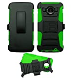 Black/Green Moto Z Force Droid Case, ULTRA [COMBAT] Hybrid Armor Holster [Kickstand] Durable Rugged Heavy Duty for Motorola Moto Z Force Droid