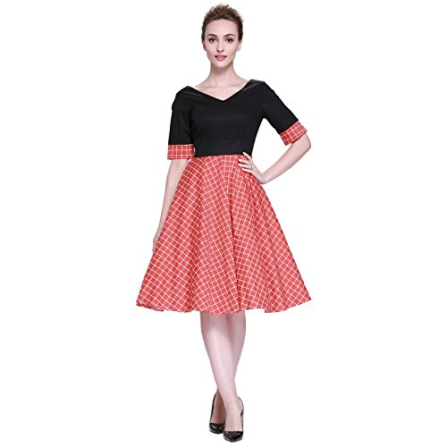 Heroecol Vintage 1950s 50s Dress Style Retro Rockabiily Cocktail V Neck XL OR