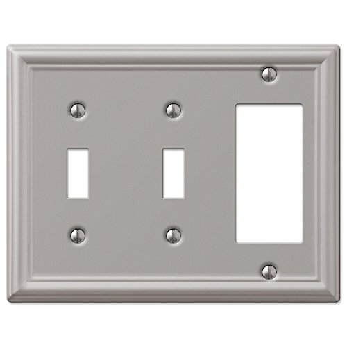 Double Toggle and GFCI Decora Rocker Wall Switch Plate Outlet Cover - Brushed Nickel