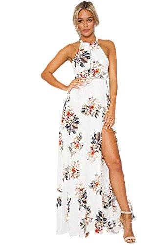 Damen Sommerkleid Strandkleider Sleeveless Blumen Dress ...