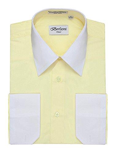 Men's Lemon Two Tone Dress Shirt w/ Convertible Cuffs - Large 36 ()