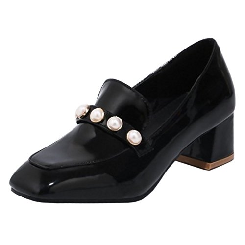TAOFFEN Women's Square Toe Chunky Heel Court Shoes Black