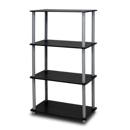 Furinno 99557BK/GY Turn-N-Tube 4-Tier Compact Multipurpose Shelf, - Bookshelf Open
