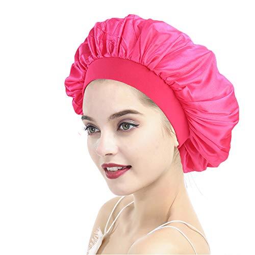 Night Bonnet Sleep Cap Wide Band Satin Bonnet Cap for Women, Satin Sleeping Hat Head Cover Beanie for Long Hair Loss,Hair Beauty Hot Pink