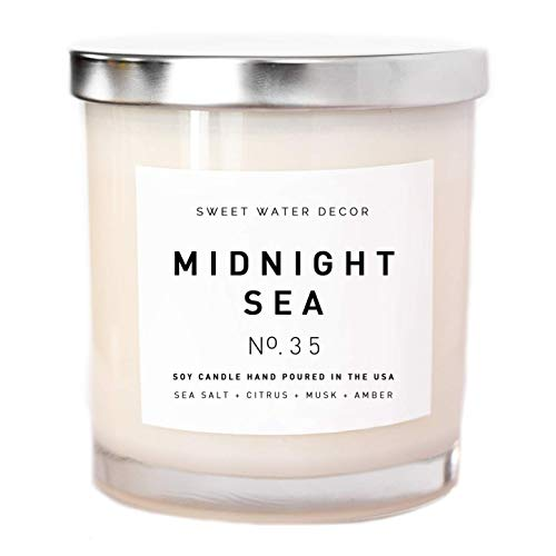Midnight Sea Natural Soy Wax Candle White Jar Summer Scented Sea Salt Citrus Musk Amber Spa Scented Made in USA Lead Free Cotton Wicks Modern Farmhouse Home Decor Bathroom Accessories Gift For Her