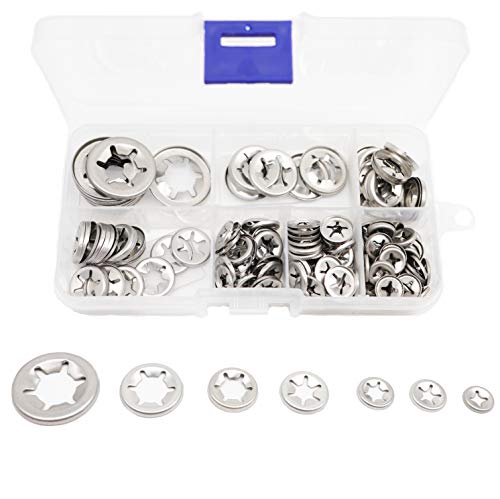 binifimux 165pcs 304 Stainless Steel Starlock Internal Tooth Washers Assortment Kit, M3/ M4/ M5/ M6/ M8/ M10/ ()