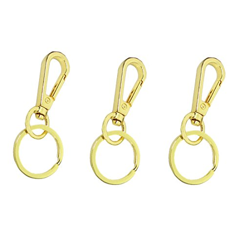 Jekewin Lobster Clasps Claw Keychain Keyring Key Holder Gold Plated With Split Rings Keyring Pack of 3