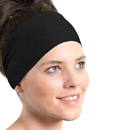 Women's Headband ,Start Casual Outdoor Solid Headwrap Gym Stretch Sweatband Washing Face Hair Accessories (Black)