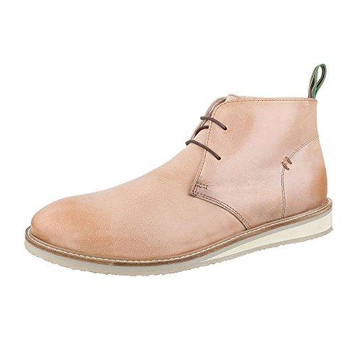 Stiefeletten Herren Leder Schuhe Schuhe Schuhe Chelsea Stiefel Schnürer Schnürsenkel Ital-Design Stiefel Beige dee925
