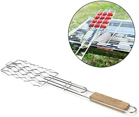 Stainless Steel Wooden Handle BBQ Sausage Grilling Basket Grill Rack Hot