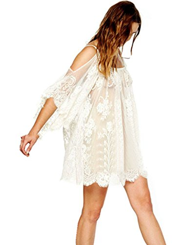 Pikolai Women Sexy Crochet Spaghetti Strap Floral Lace Casual Mini Dress (XL, White)
