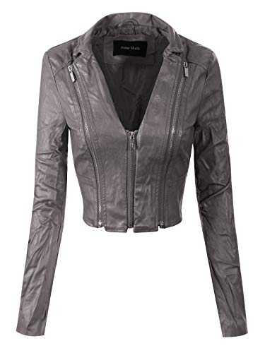 Instar Mode Women's Stylish Trendy Bomber Faux Leather Motorcycle Cropped Rider Jacket Grey ()