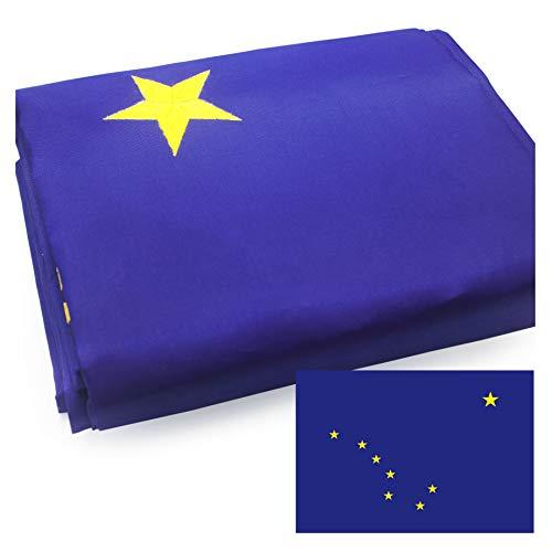 VSVO Alaska State Flag 3x5ft. with Double Sided Embroidered Stars UV Protected, Long Lasting Nylon US Alaska Flag