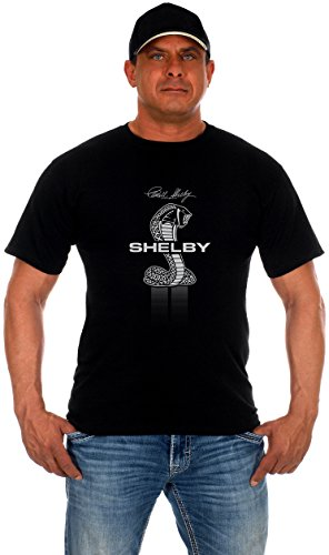 JH Design Men's Shelby Cobra Black T-Shirt Short Sleeve Crew Neck Shirt (Large, (Mustang Black Shirt)
