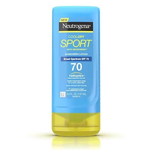 Neutrogena CoolDry Sport Sunscreen Lotion with Broad Spectrum SPF 70, Cooling Sweat- & Water-Resistant Sunscreen with Oil- & PABA-Free Formula, 5 fl. oz